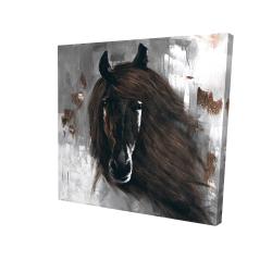 Canvas 24 x 24 - 3D - Dark brown horse