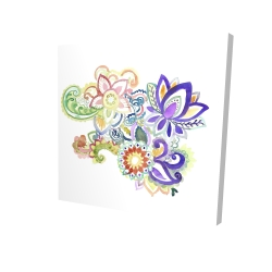 Canvas 24 x 24 - 3D - Paisley watercolor