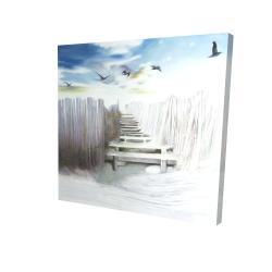 Canvas 24 x 24 - 3D - Break at the beach