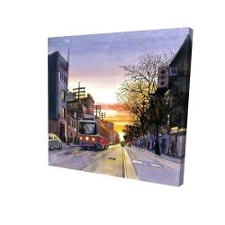 Canvas 24 x 24 - 3D - Sunset streetscape to toronto
