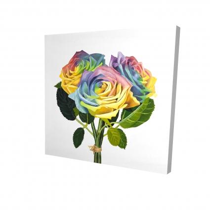 Bouquet de roses arc-en-ciel