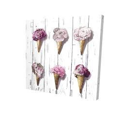 Canvas 24 x 24 - 3D - Peony cones