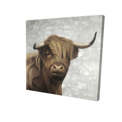 Canvas 24 x 24 - 3D - Desaturated highland cattle