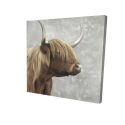 Canvas 24 x 24 - 3D - Beautiful desaturated higland cattle