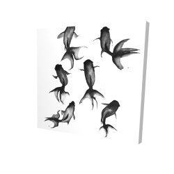 Canvas 24 x 24 - 3D - Black fishes