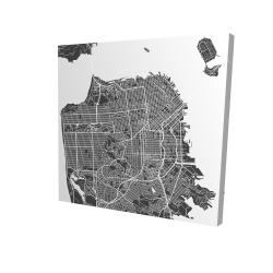 Canvas 24 x 24 - 3D - San francisco city plan