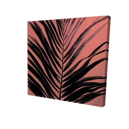 Coral tropical palm leave