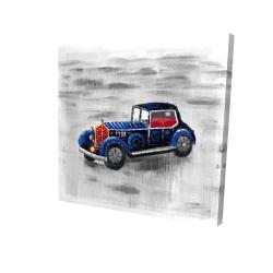 Canvas 24 x 24 - 3D - Vintage blue toy car