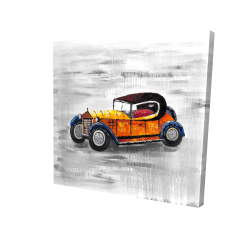Canvas 24 x 24 - 3D - Yellow vintage car toy