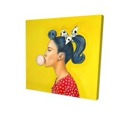 Canvas 24 x 24 - 3D - Retro woman with beautiful ponytail