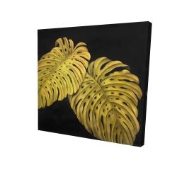 Toile 24 x 24 - 3D - Feuille monstera doré