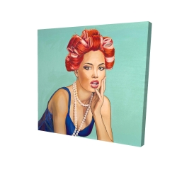Canvas 24 x 24 - 3D - Pin up girl with curlers