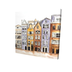 Canvas 24 x 24 - 3D - Amsterdam houses hotel