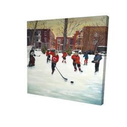 Canvas 24 x 24 - 3D - Young hockey players