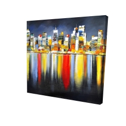 Canvas 24 x 24 - 3D - Colorful reflection of a cityscape by night