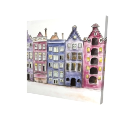 Canvas 24 x 24 - 3D - Old historic houses amsterdam