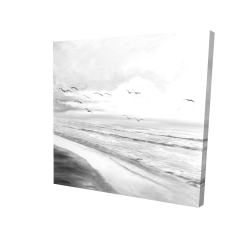Canvas 24 x 24 - 3D - Monochrome tropical sunset