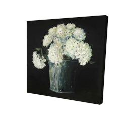 Canvas 24 x 24 - 3D - White hydrangea flowers