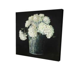 Canvas 24 x 24 - 3D - White hydrangea flowers