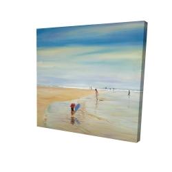 Canvas 24 x 24 - 3D - Children at the beach