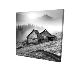 Canvas 24 x 24 - 3D - Mountain carpathian village