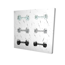 Canvas 24 x 24 - 3D - Dumbbells