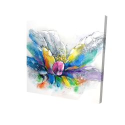 Canvas 24 x 24 - 3D - Abstract flower with newspaper