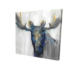 Canvas 24 x 24 - 3D - Blue moose