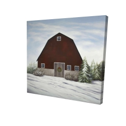Canvas 24 x 24 - 3D - It's winter on the farm