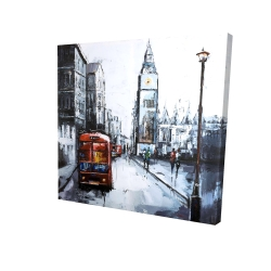 Canvas 24 x 24 - 3D - Abstract london and red bus