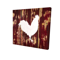 Canvas 24 x 24 - 3D - Rooster silhouette