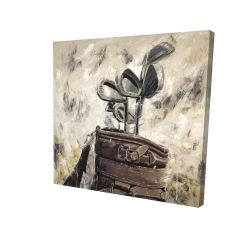 Canvas 24 x 24 - 3D - Vintage sticks and golf bag