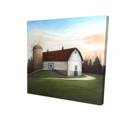 Canvas 24 x 24 - 3D - White barn view