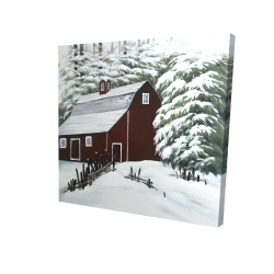 Canvas 24 x 24 - 3D - Red barn in snow