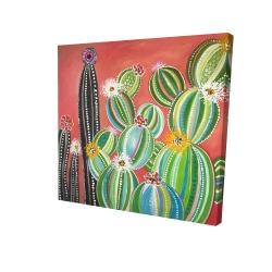 Canvas 24 x 24 - 3D - Rainbow cactus