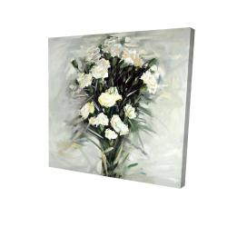 Canvas 24 x 24 - 3D - Lisianthus white bouquet