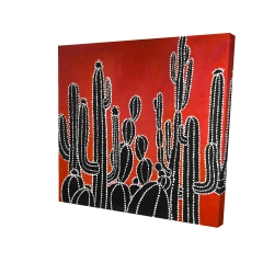 Canvas 24 x 24 - 3D - Black tall cactus