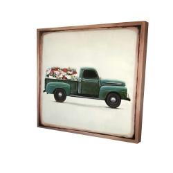 Canvas 24 x 24 - 3D - Flowers farm truck
