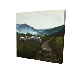 Canvas 24 x 24 - 3D - Sheep in the countryside