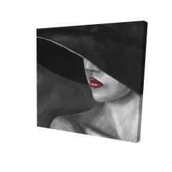Canvas 24 x 24 - 3D - Mysterious woman with a hat
