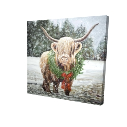 Canvas 24 x 24 - 3D - Highland christmas cow