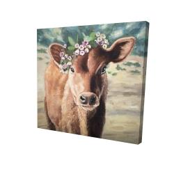 Canvas 24 x 24 - 3D - Cute jersey cow
