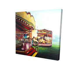 Canvas 24 x 24 - 3D - Carousel in a carnaval