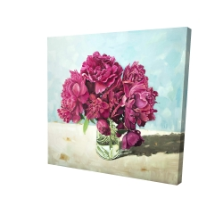Canvas 24 x 24 - 3D - Fuchsia peony