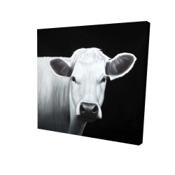 Canvas 24 x 24 - 3D - White cow