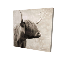 Canvas 24 x 24 - 3D - Beautiful highland cattle sepia