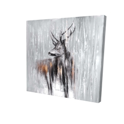 Canvas 24 x 24 - 3D - Deer in the forest