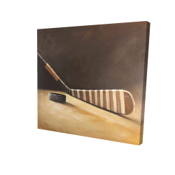 Canvas 24 x 24 - 3D - Stick and hockey puck