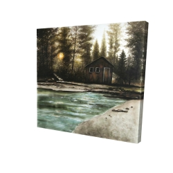 Canvas 24 x 24 - 3D - Cabin in the forest