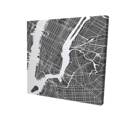 Canvas 24 x 24 - 3D - New york graphic map